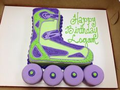 Roller skate purple and lime green cake by CAKE & All Things Yummy in Kernersville, NC