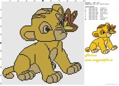 Little Simba (The Lion King) cross stitch pattern - free cross stitch patterns simple unique alphabets baby Cross Stitch Fabric, Cross Stitch Baby, Cross Stitch Charts, Cross Stitching, Cross Stitch Embroidery, Embroidery Patterns, Hand Embroidery, Simba Bebe, Baby Simba