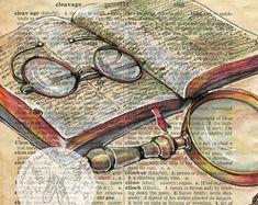 Druck: Fisch Mischtechnik Zeichnung auf antike Wörterbuch