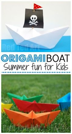 make a Paper Boat! This is such an easy origami boat and it is so fun to play with, that it makes the perfect easy origami for kids to learn. We love making easy paper boats and you can deco (Diy Paper Boat) Easy Origami For Kids, Origami Easy, Origami Paper, Diy Paper, Oragami, Origami Folding, Origami Tutorial, Paper Folding, Summer Fun For Kids