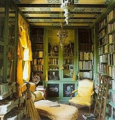 Cozy library #books #bookshelves #green