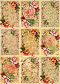 9 Flower Roses Floral Vintage 155 lb Lamina Scrapbook Paper Crafting Card Tags | eBay