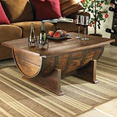 wine barrel table with storage