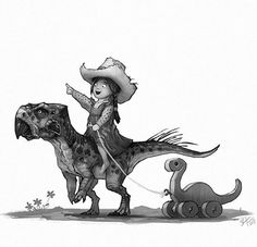 Happy Friday! | A little girl and Psittacosaurus