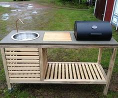 Love this size and set up...few changes- under the grill lid would be dual range top for pots and frying pans, small hole in corner of cutting board for trash shoot and cabinet access to under sink area for storage