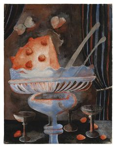 'Dessert (Still Life with Glasses and Strawberry Pudding' (1939) by Mexican artist Rufino Tamayo (1899-1991). Oil on canvas, 17 x 13 in. via Mutual Art