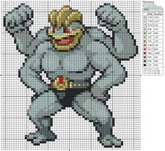 Pokémon – Machamp 60x60 - 70x70, Birdie's Patterns, Gaming, M - P, Machamp…