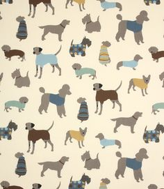 This fun, contemporary dog fabric is available in four different colourways, cinnamon, jewel, caramel and duck egg.  Made from 100% cotton.  This fabric is suitable for blinds, curtains and cushions.  Buy now from our online store or visit our fabric shops in Burford and Cheltenham where we have huge stocks of discounted curtain and upholstery fabrics.