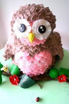 Owl Cake #owl #cake #cupcake #feathers #birthday #party #theme