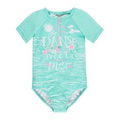 Short Sleeve One-Piece Swimsuit /Maillot une-pièce à manches courtes Bleu à motifs Souris Mini