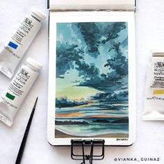 I'm still not that great at Gouache yet. I find clouds especially tricky, so i drew this with a reference from 's work to… Art Sketches, Art Drawings, Gouche Painting, Art Sketchbook, Watercolor Sketchbook, Beautiful Paintings, Aesthetic Art, Graphic, Art Tutorials