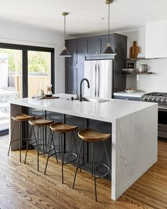 Ned and Ariel Fulmer of The Try Guys, just renovated their California modern home with clean white w Open Plan Kitchen, New Kitchen, Kitchen Decor, Kitchen White, Layout Design, Küchen Design, House Design, Modern Kitchen Design, Interior Design Kitchen