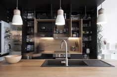 """When the kitchen is stylish, comfortable and expressive, then it can """"make"""" the interior of any apartment or house. Take a look at this beautiful modern ✌Pufikhomes - source of home inspiration Lighted Bathroom Mirror, Cuisine Design, Kitchen, Interior, Black Kitchens, Modern, Renovations, Kitchen Storage, Parisian Apartment"""