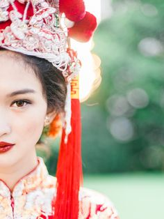 Portrait of a bride in Qun Kua // Beautiful Traditions: A Styled Shoot at Emily Hill #chinese #weddingdress