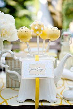 Lemon cake pops. Images via Krista Fox http://www.rosesandlace.co.uk/tea-party-shoot/