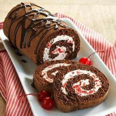 Black forest cake roll! How are you going to celebrate Black Forest Cake Day? #nationalfood #food
