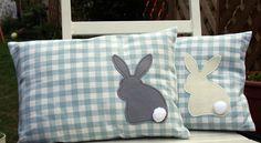 bunny cushions - omg Georgia would love this - she loves bunnies! Cute Pillows, Diy Pillows, Decorative Pillows, Cushions, Throw Pillows, Bunny Crafts, Easter Crafts, Easter Pillows, Sewing Pillows