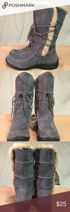 New Earth Origins Blue/Gray Suede/Leather Boots These mid-length boots are Brand New/Never Worn and are in PERFECT CONDITION. They also come scotch guard protected. Earth Origins Shoes Winter & Rain Boots