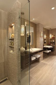 Beautiful Bathroom Space Planning - Small Glass Partition - Lighting in the Bathroom