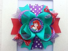 The Little Mermaid Ariel Hair Bow / Ariel Birthday Bow / Little Mermaid Birthday Hair Bow /Disney Princess Ariel Hair Bow