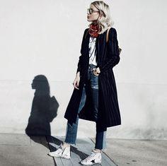 @josephfashion coat, @levis denim, @balenciaga scarf, @goldengoosedeluxebrand kicks
