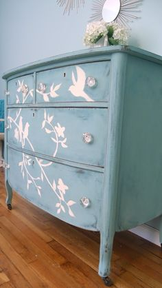 Share Tweet Pin Mail This week I finished up a gorgeous antique dresser. I seriously contemplated doing a version of MMS's music sheet dresserwith ...