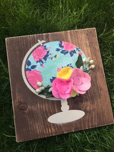 Floral Globe with Bouquet of Felt Flowers by SunshineandBloom