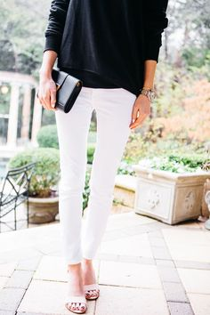 White jeans + slouchy black.