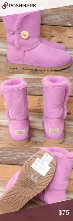 UGG Bailey Button Jellyfish Sheepskin Boots US 7 Beautiful color! Brand new, never worn factory samples. UGG Shoes Winter & Rain Boots