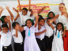 Volunteer Tegan  with some of her pupils from Velidhoo Atoll School