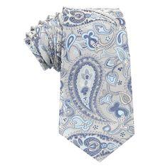 Paisley Silver Tie with Light Blue | Neckties | Australian Designer Ties $35 | Australia | OTAA