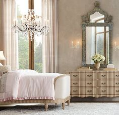pink bedroom from Restoration Hardware via Jennifer @ A Beautiful Life blog