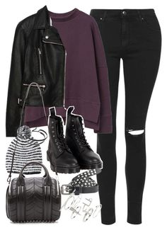 """""""Outfit with a purple jumper"""" by ferned on Polyvore featuring Topshop, MANGO, Zara, Dr. Martens, Forever 21, Alexander Wang, Maison Scotch and Links of London"""
