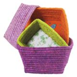 Raffia Bread Basket - Set of 4 in Purple with Mixed Colors - Rice A/S Colored Rice, Frappe, Plastic Laundry Basket, Color Mixing, Home Decor, Baskets, Bread, Purple, Colors