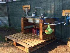 Outdoor Play, Outdoor Ideas, Backyard Ideas, Garden Ideas, Mud Pie Kitchen, Cable Reel, Natural Play, Outdoor Classroom, Pallet Crafts