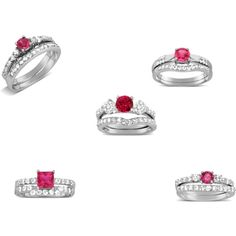 GemsCove Ruby Red Engagement Rings Bridal Sets by gems-cove on Polyvore