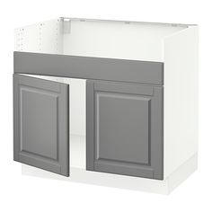 IKEA - SEKTION, Base cabinet f/DOMSJÖ 2 bowl sink, white, Bodbyn gray, , The door damper prevents your cabinet door from slamming by catching the moving door so that it closes slowly, gently and silently.