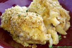 Three Cheese Mac & Cheese with Garlic, Goat Cheese, White Cheddar, Parmigiano-Reggiano and Sour Cream I love this site http://porkrecipe.org/posts/Three-Cheese-Mac-Cheese-with-Garlic-Goat-40248