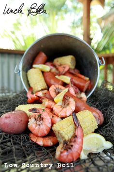 LOVE to do this....Crab Boil Seasoning (I use Old Bay)  12 baby red potatoes  6 ears of corn, shucked and silk removed  One 12 oz can or bottle of domestic beer  1 medium-size white onion, quartered  2 packages smoked sausage, cut into 1-inch pieces  1 lb medium to large raw shrimp, in the shell (we add red potatoes and sometimes crab legs too)