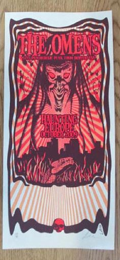 Original silkscreen concert poster for The Omens European Tour in 2009. 8 x 17.5 inches on card stock paper. Signed and numbered by the artist Lindsey Kuhn.