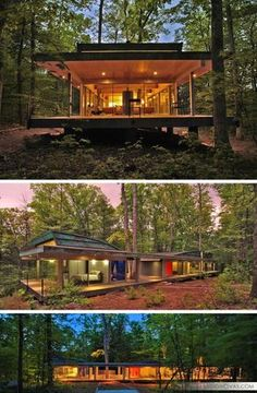 18 Modern House In The Forest // Rather than cut down the trees to make room for the house, the trees in this forest became part of the house design. of the house 18 Modern Houses In The Forest Casas Containers, Modern Cottage, Interesting Buildings, Container House Design, Forest House, Forest Cottage, House In The Woods, Modern House Design, Home Design