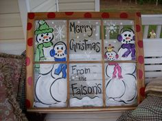 Christmas window to paint. Would love to do.this.with my other old window.