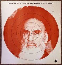 Original Vtg 1970s AYATOLLAH KHOMEINI Target Poster Leader Of Iran Revolution