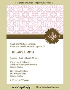 Custom Personalized First Communion or Baptism (Boy or Girl) Invitation Card (Digital Print Your Own). $15.00, via Etsy.