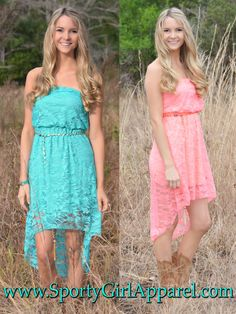 2829788764 Sporty Girl Apparel - Western Lace Hi Low country girl dress