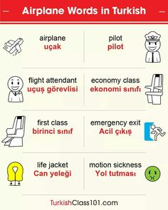 #Learning_Turkish 🛫 Airplane ✈ Words 🛬