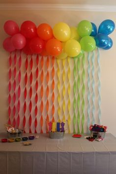 cool balloon and streamer wall decor, maybe for one of the girl's birthday parti. cool balloon and streamer wall decor, maybe for one of the girl's birthday parties? Trolls Birthday Party, Troll Party, Rainbow Birthday Party, Carnival Birthday, 4th Birthday Parties, Birthday Fun, Birthday Ideas, Rainbow Parties, Balloon Birthday
