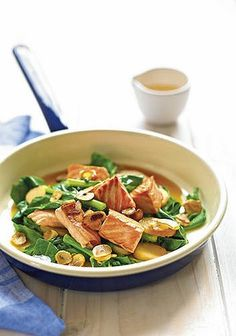 Salmon stir-fry with gai lan and water chestnuts.