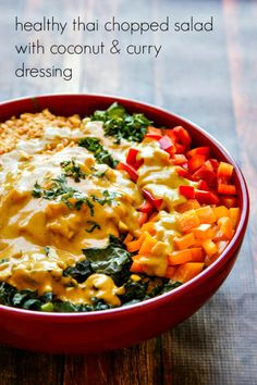superfood thai salad with a delicious coconut-curry dressing - sub almond butter and almonds