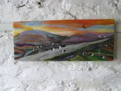 textile art felt painting mountain road 20 x 8 by SueForeyfibreart